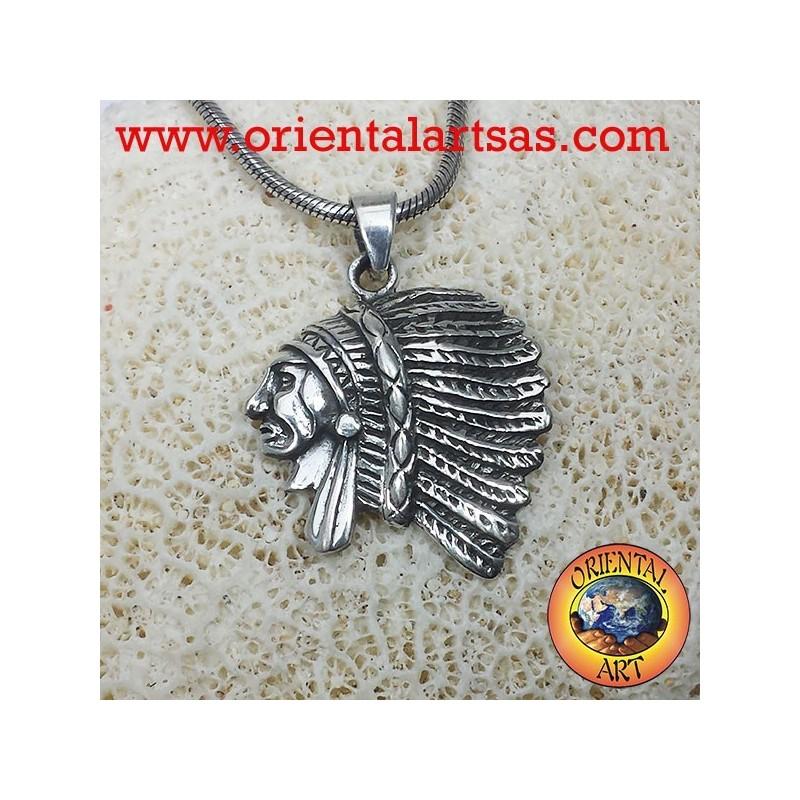 ciondolo testa di Indiano in argento