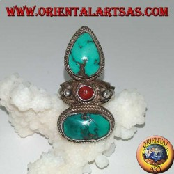 Silver ring with two ancient natural Tibetan turquoise and 1 coral