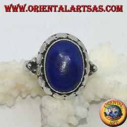 Серебряное кольцо с натуральным овальным набором из лазурита