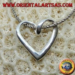 Silver pendant with a twisted heart profile