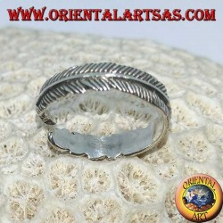 Silver feather ring, symbol of purification