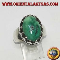 Bague en argent avec turquoise ovale antique tibétaine naturelle avec sertissage haut