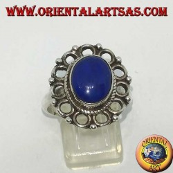 Silver ring with natural oval Lapis Lazuli surrounded by circles