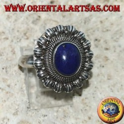 Handmade silver ring with natural oval Lapis Lazuli