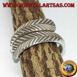 Anello in argento a doppia piuma regolabile , simbolo di purificazione