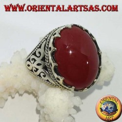 Silver ring with large oval carnelian set with triangles