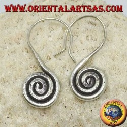 Karen handmade hooked spiral silver earrings