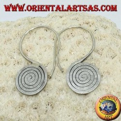 Karen handmade hooked spiral silver crushed earrings