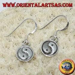 Yin-Yang-Ohrring in Silber mit doppelseitigem Anhänger, Taijitu (T'ai Chi T'u)