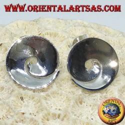Boucles d'oreilles à lobes spirales concaves en argent