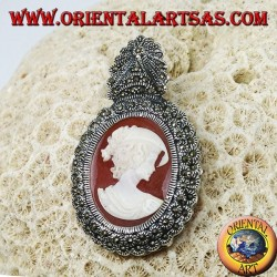 Silver brooch and pendant with lady cameo and marcasite