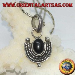 Silver pendant with oval onyx and braided silver border