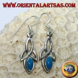 Boucles d'oreilles en argent avec noeud tyrone et pâte turquoise