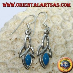 Silver earrings with tyrone knot and turquoise paste