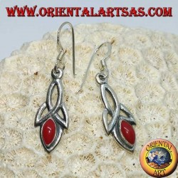 Silver earrings with tyrone knot and coral paste