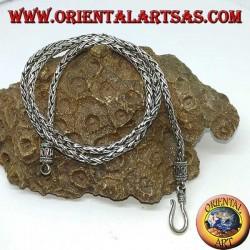 Collana in argento, treccia a due fili da cm 45