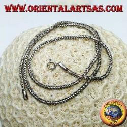 Collier en argent, lien serpent section carrée de 50 cm