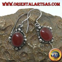 Silver pendant earrings with oval carnelian