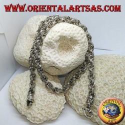 Silberhalskette mit abwechselnd glatten und bearbeiteten Ringen