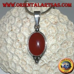 Silver pendant with large oval carnelian, and smooth edge with three dots
