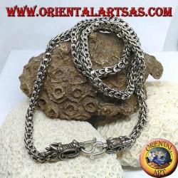 Серебряное ожерелье, дракон, две головы дракона с сетчатой рубашкой