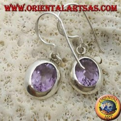 Silver earrings with natural faceted oval Amethyst set on a smooth edge