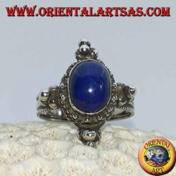 Silver ring with oval lapis lazuli, surrounded by dots