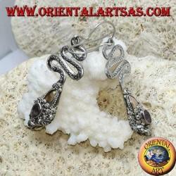Серебряные серьги в форме кобры с ограненным овальным аметистом и золотой фольгой