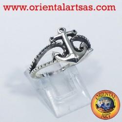 anello con àncora in argento