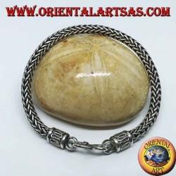 Bracciale in argento a intreccio snake, sezione tonda