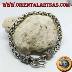 Bracelet en argent avec bagues entrelacées, section carrée
