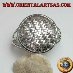 Silver bangle, round shield with intertwined bands