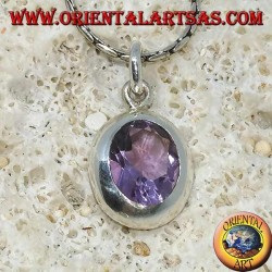 Silver pendant with beautiful natural Amethyst with a simple frame