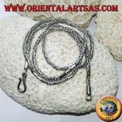 Серебряное колье, змея БОРОБУДУР, византийская сетка (40 см * 2,5 мм)