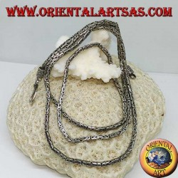 Collana in argento, snake BOROBUDUR maglia bizantina ( cm 77 * mm 2,5 )
