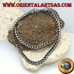 Silberkette, geflochten mit einem quadratischen Querschnitt von (Länge 52 cm, Dicke 5,3 mm 5,3)
