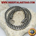 Silver necklace, braided with a square section of (length 52 cm, thickness 5.3 mm 5.3)