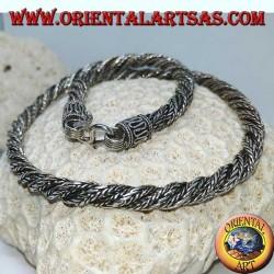 Collana in argento a  torciglione (lunghezza cm 45 , spessore mm 6)