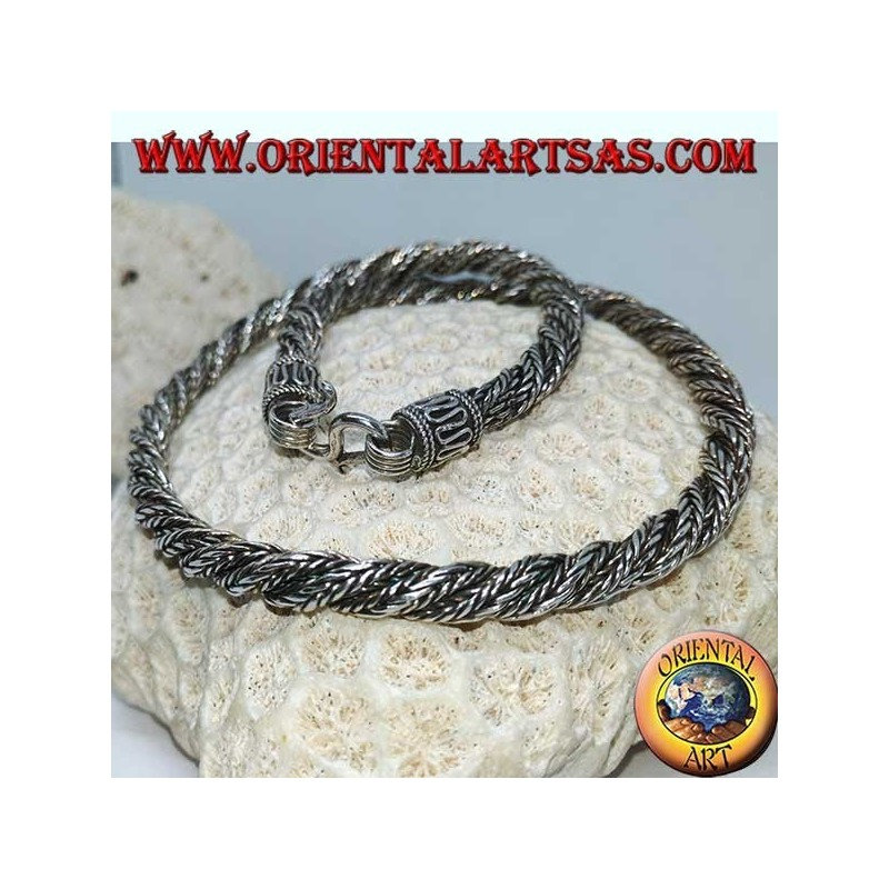 Twisted silver necklace (45 cm long, 6 mm thick)
