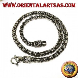 Collar de plata, trenza y anillos (longitud 45 cm, espesor 5,8 mm)