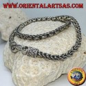Silver necklace, braid and rings (length 45 cm, thickness 5.8 mm)