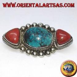 Broche en argent avec deux coraux naturels et une turquoise tibétaine naturelle