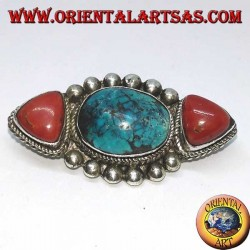 Silver brooch with two natural corals and 1 natural Tibetan turquoise