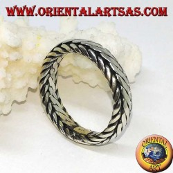 Silver ring with hand-woven band