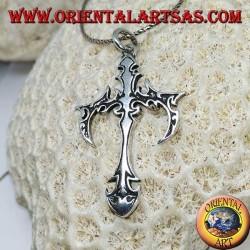 Pendentif en argent, croix tribale gothique