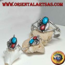 Pulsera hecha a mano y anillo rígido de plata con turquesa y coral.