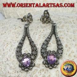 Orecchini  pendente in argento con Ametista ovale fatto a mano