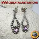 Silver pendant earrings with handmade oval Amethyst