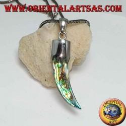 Серебряный кулон в форме рожка с ракушкой из морского ушка