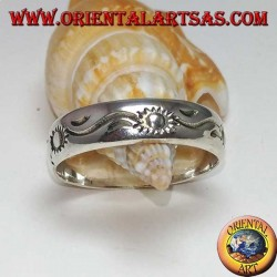 Silver ring inlaid with sun and alternating waves